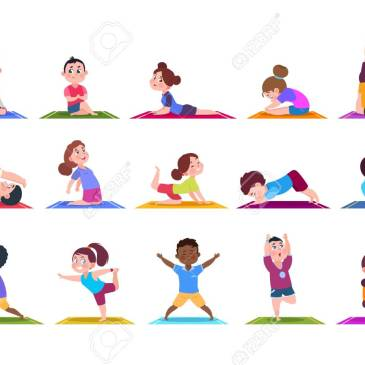 Yoga kids. Cartoon children doing yoga. Sporting girls and boys in gym. Vector characters isolated set. Illustration of child yoga cartoon, sport fitness lifestyle